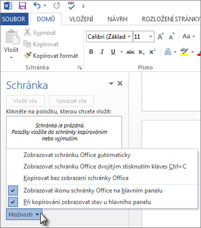 Možnosti podokna úloh Schránka Office