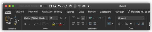 obrázek pásu karet Excelu v tmavém režimu