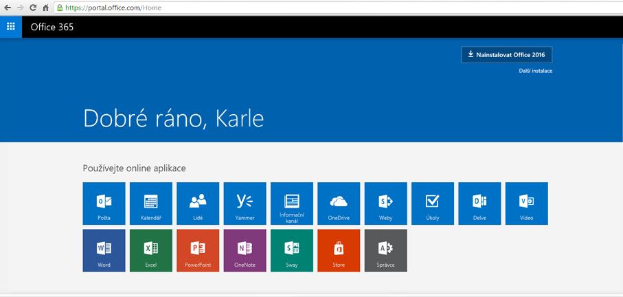 Snímek obrazovky s návodem na instalaci Office 365 na počítač