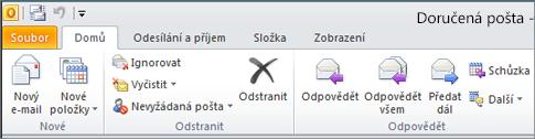 Pás karet v Outlooku 2010