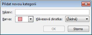 Dialogové okno Přidat novou kategorii