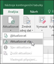 Aktualizujte všechny kontingenční tabulky: pás karet > Nástroje kontingenční tabulky > Analýza > Data, klikněte na šipku pod tlačítkem Aktualizovat a vyberte Aktualizovat vše.