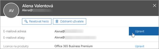 Zvolení možnosti Upravit vedle primární e-mailové adresy