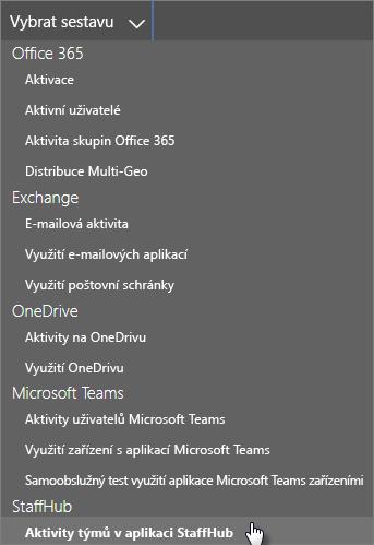 Výběr sestavy – aktivita týmu StaffHub