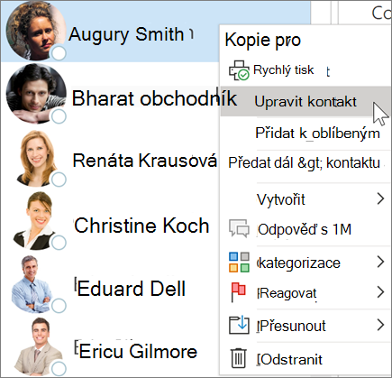 Úprava kontaktu v Outlooku