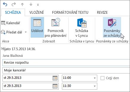 Pořizovaní poznámek ke schůzce v Outlooku