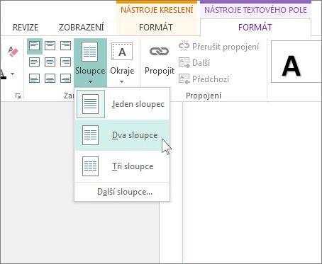 Snímek obrazovky Nástroje textového pole – sloupce v Publisheru