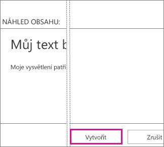 Tlačítko Vytvořit v textovém poli Přidat