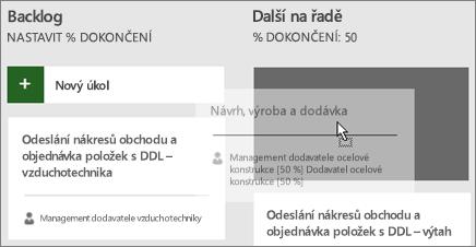 Snímek obrazovky s přesunutím úkolu z jednoho sloupce panelu úkolů do druhého