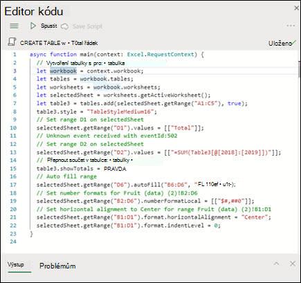 Když vyberete skript ze seznamu skriptů, zobrazí se v novém podokně, které také zobrazuje samotný kód TypeScript.