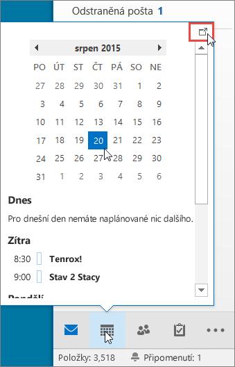 Náhled kalendáře s vyvolanou ikonou Dokování