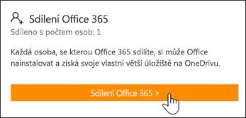 Část Sdílení Office 365 na stránce Můj účet před sdílením předplatného s uživatelem