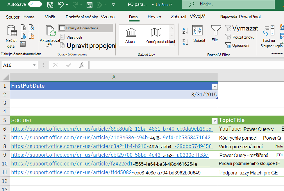 Excelový sešit zobrazující tabulku parametrů a data načtená z Power Query