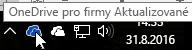 Snímek obrazovky znázorňující ukazatel myši na modré ikoně OneDrivu s textem OneDrive pro firmy