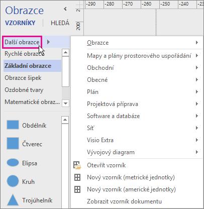 Po kliknutí na Další obrazce se zobrazí nabídka kategorií.