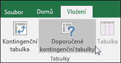 Pokud chcete, aby Excel vytvořil kontingenční tabulku za vás, přejděte na Vložení > Doporučené kontingenční tabulky.