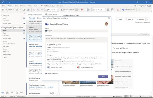 Sdílení na Teams z Outlooku