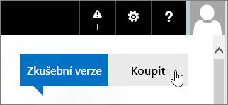 Tlačítko pro zakoupení zkušební verze Office 365