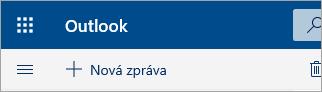 Snímek obrazovky levého horního rohu poštovní schránky Outlook.com beta