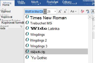 Nové písmo se ve Wordu objeví v seznamu písem.