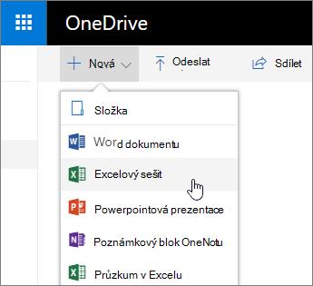 Nabídka pro nové OneDrive, příkaz sešit aplikace Excel
