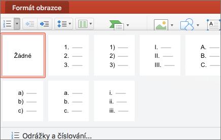Snímek obrazovky s dostupnými styly číslování, které jsou k dispozici, když vyberete šipku u tlačítka Číslování
