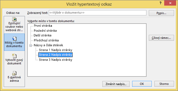 Vytvoření hypertextového odkazu na stránku v publikaci
