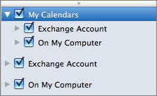 Skupina Moje kalendáře vOutlooku 2016 pro Mac
