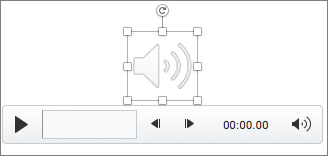 Ovládací prvek zvuku s vybranou ikonou reproduktoru