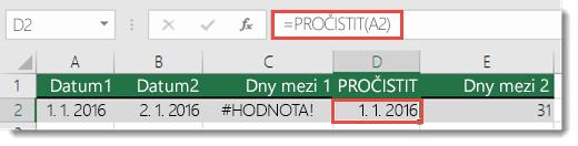 Pomocí funkce PROČISTIT() odeberete úvodní a koncové mezery – vzorec v buňce D2 je =PROČISTIT(A2)