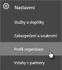 V Centru pro správu přejděte na Nastavení a pak Profil organizace.