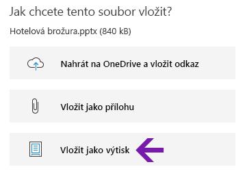 Možnost výtisku souborů ve OneNotu pro Windows 10