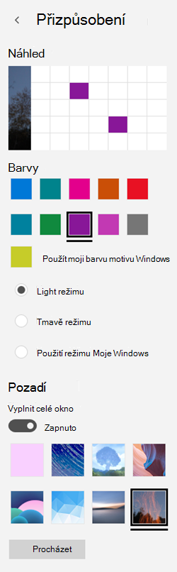 Vyberte obrázek na pozadí a vlastní barvy pro vaše aplikace