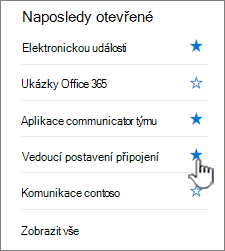 Kliknutí na hvězdu na webu v levém navigačním panelu