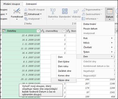 Power Query – Extrakce názvu týdne, dne nebo měsíce ze sloupce Datum/Čas v Editoru dotazů