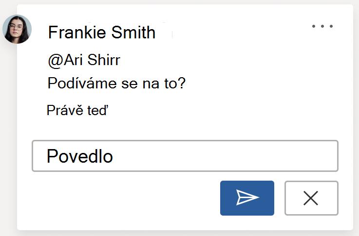 Obrázek komentáře s tlačítkem Příspěvek Tlačítko Příspěvek je v pravém dolním rohu karty Komentář při kreslení nového komentáře nebo odpovědi na komentář.