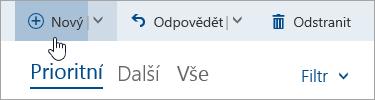 Snímek obrazovky s tlačítkem Napsat novou zprávu