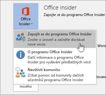 Připojení k tlačítku Office Insider