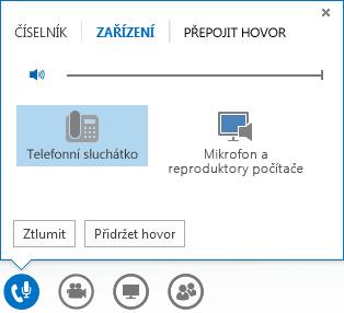 Snímek obrazovky s možnostmi nastavení zvuku