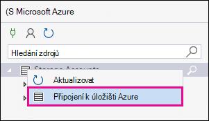 Klikněte pravým tlačítkem myši úložiště účty a potom klikněte na připojit k základnímu úložišti Azure