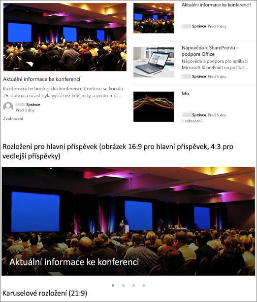 Příklady obrázků rozložení příspěvků