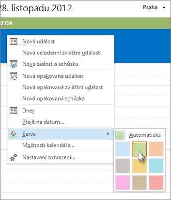 Kliknutí pravým tlačítkem myši na kalendář a následné kliknutí na příkaz Barva
