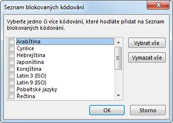 Dialogové okno Seznam blokovaných kódování