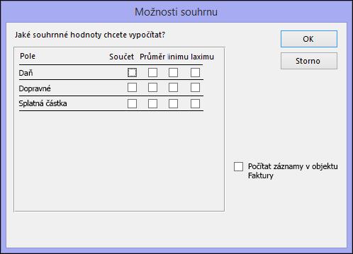 Výběr způsobu výpočtu souhrnných hodnot v dialogovém okně Možnosti souhrnu