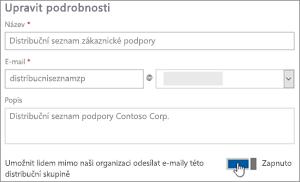 Snímek obrazovky: Zapnutí přepínač, kterým povolit externí členové odešlete disk dl