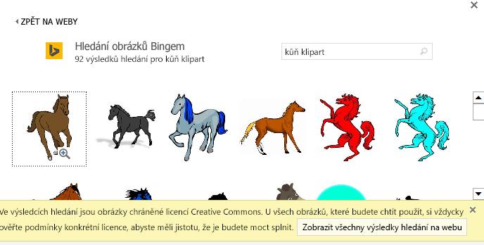 """Vyhledávání s výrazem """"kůň klipart"""" vám nabídne různé obrázky s licencí Creative Commons."""