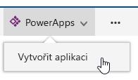 Kliknutím PowerApps a potom na vytvořit aplikaci.