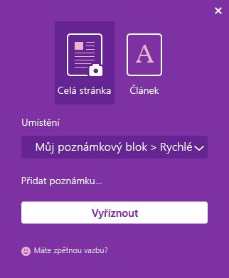 Okno OneNote Web Clipper