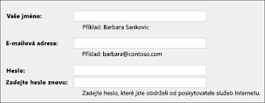Zadání e-mailové adresy ahesla
