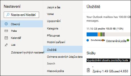 Nabídka úložiště složek pro Outlook Web App.